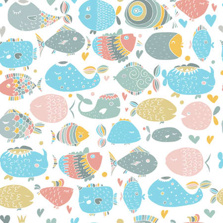 vector seamless pattern with sea fish. Bright tropical fish doodles in the naive style.