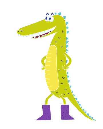 Bright children's crocodile illustration in flat style. T-shirt print.