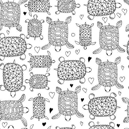 Little turtle contour seamless pattern on white background . Vector animal illustration.