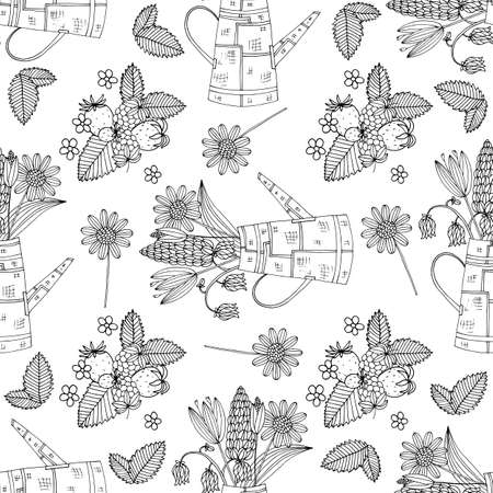 Garden watering can in vintage style with wild flowers. Vector retro illustration. Seamless pattern drawn with ink.