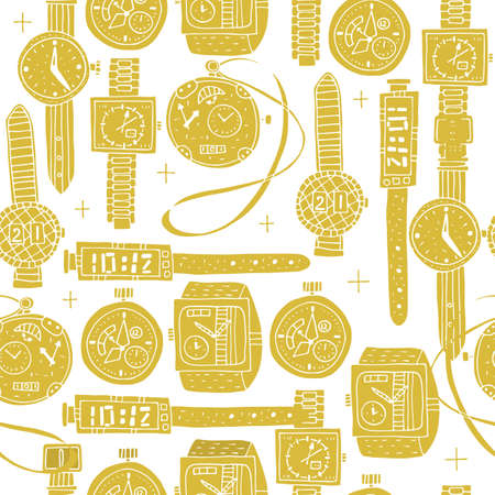 Vector illustration. Seamless pattern of different clocks in Doodle style. Gold watch