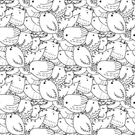 Seamless vector pattern of birds.Collection of cute hand drawn bird Doodle. Black on white vector set. Easter design. Coloring book