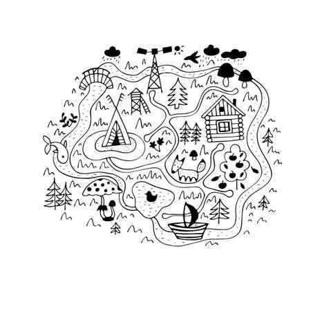 Routes de dessins animés avec Fox cub, tentes, maisons de montagne pour enfants. Affiche de dessin animé de labyrinthe de vecteur. Vous pouvez l'utiliser pour imprimer sur un tapis pour la décoration de la chambre des enfants