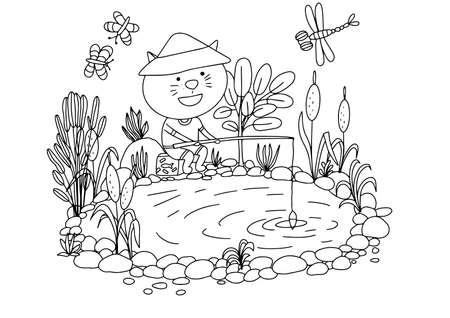 Coloring book with a fisherman on the lake. Vector illustration
