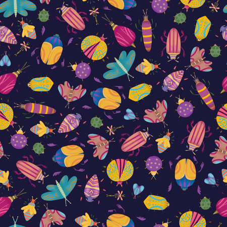 seamless pattern of colorful insects in flat style