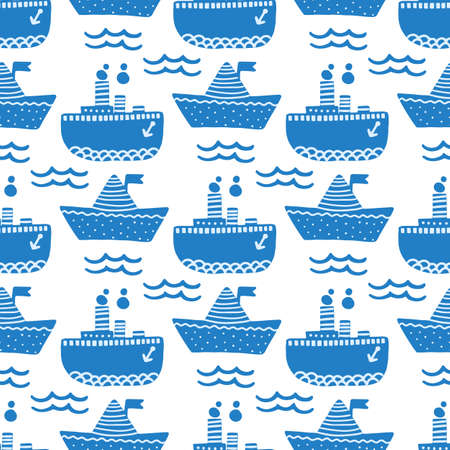 Marine seamless pattern with ship and steamer.