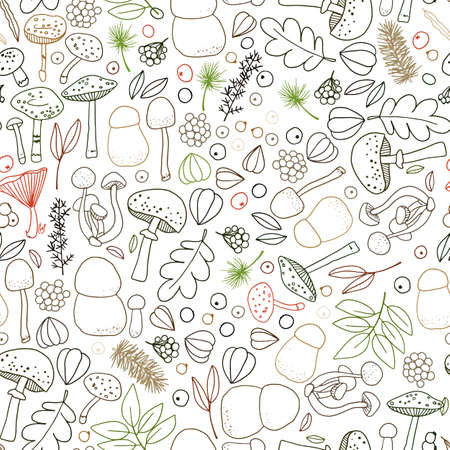 Seamless vector pattern with mushrooms, cones, needles, and berries. Illustration of a forest clearing. Design for paper and fabric.