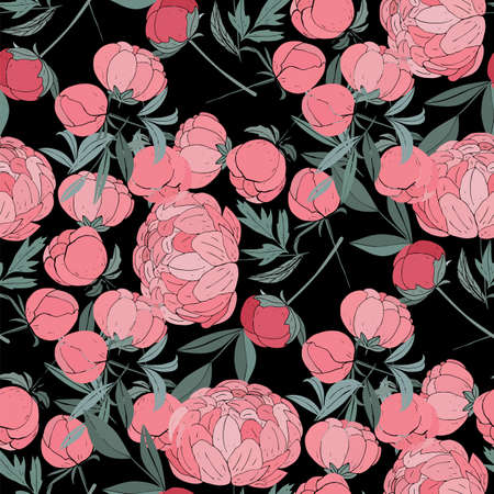 Seamless floral pattern with peonies.Vector illustration.