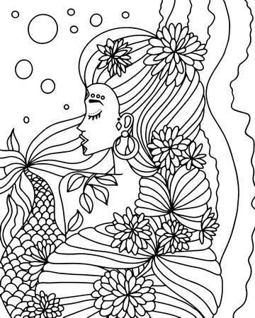 Coloring book with a mermaid. Black and white vector illustration