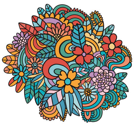 Illustration with flowers, curls, leaves, plants, lines Design element with colors Banque d'images