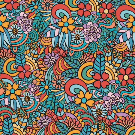 Richly decorated floral seamless texture, endless pattern with flowers. Design for Wallpaper, fabric, paper, packaging.