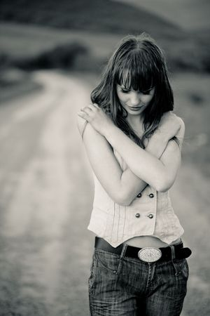 closed eye: Tired teenager girl staying on road, image in sepia