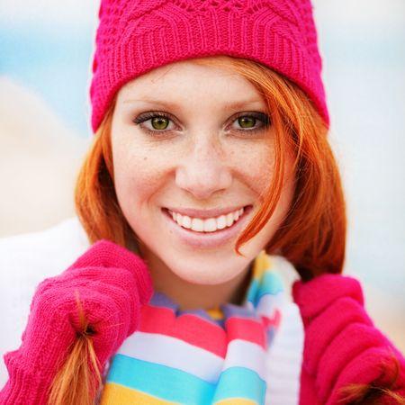 Cute fashion girl wearing winter clothing Stock Photo