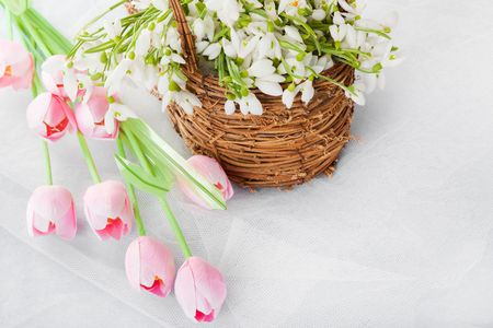 Spring flowers tulips and snowdrops in basket on table with empty space for text Stock Photo - 4330418