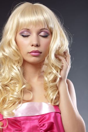 Portrait of beautiful blonde with pink makeup Stock Photo - 4336810