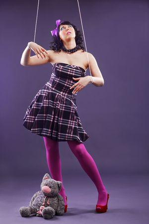 puppet woman: Sudio foto de modelo estilizado como marionetas Foto de archivo