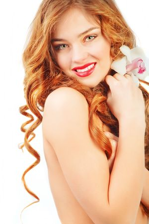 Beautiful woman with long curly hair on white Stock Photo
