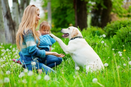 Beautiful woman with little girl and dog outdoors Stock Photo