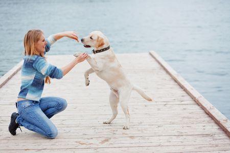 affectionate action: Hermosa ni�a con su perro en el mar cerca de litera