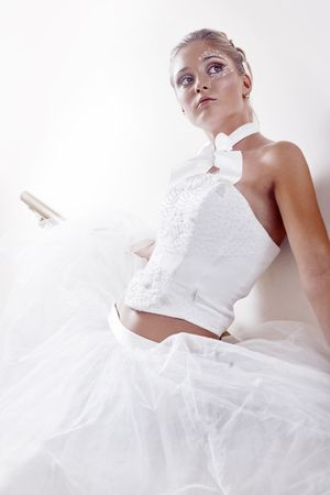 Beautiful bride posing in white room Stock Photo - 5352709