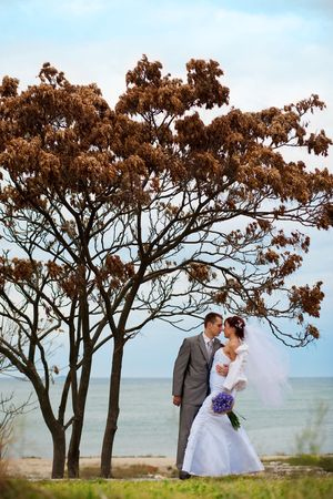 Wedding couple posing outdoors in autumn at overcast weather photo