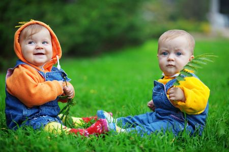 Cute twins babies sitting on fresh green grass in park photo
