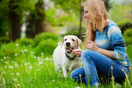 Beautiful woman with playful young dog on fresh green meadow photo