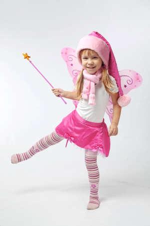 Portrait of sweet little girl in Christmas fairy costume Stock Photo