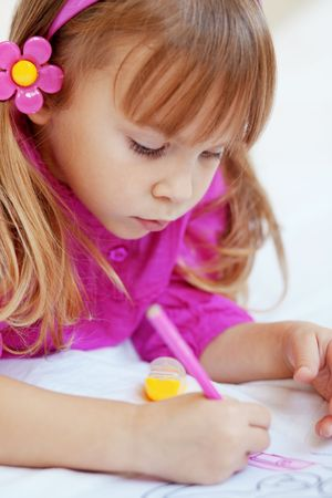 Little girl painting in her nursery at home Stock Photo - 5858029