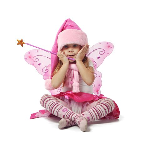 christmas costume: Portrait of sweet little girl in Christmas fairy costume Stock Photo