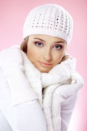 Close-up portrait of beautiful pure young woman wearing warm winter clothing Stock Photo - 5918370