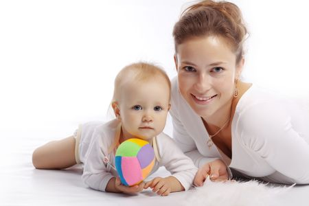 Young mother with her baby over white photo