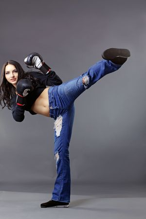 Portrait of young beautiful boxer woman Stock Photo