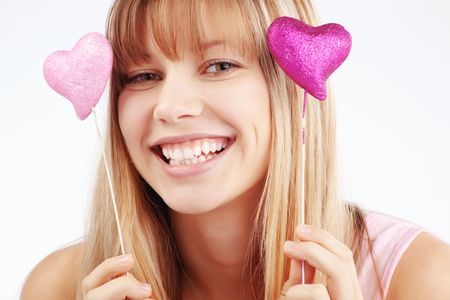 Portrait of beautiful young romantic girl in Valentines day photo
