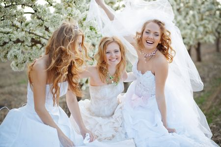 Three happy beautiful brides together photo