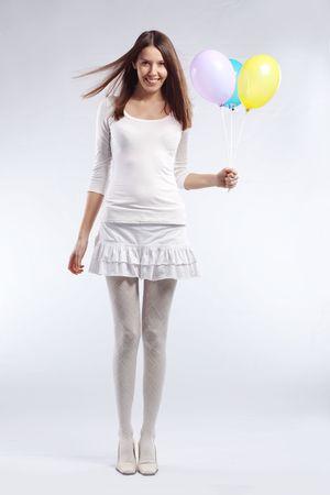 Mode Schüsse von young beautiful Woman holding Urlaub Ballons in Ihrem Geburtstag  Standard-Bild