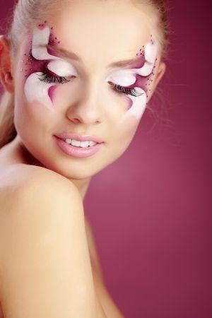 painting face: Close-up de fantas�a hermoso ojo cara-arte Foto de archivo
