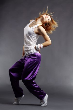 Teenage girl dancing hip-hop studio series Stock Photo - 6582077