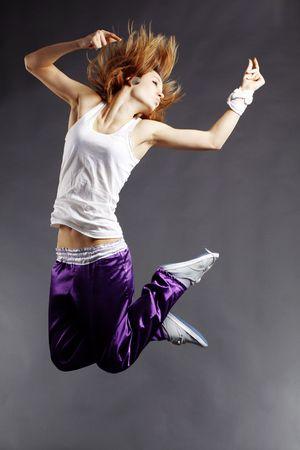 rnb: Teenage girl dancing hip-hop studio series