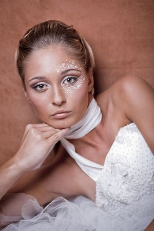 Fashion model with delicate make-up and face-art close-up Stock Photo - 6665856