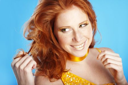 Portrait of woman with beautiful red hair photo