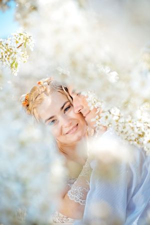 Kissing wedding couple in spring nature close-up portrait Stock Photo - 6665715
