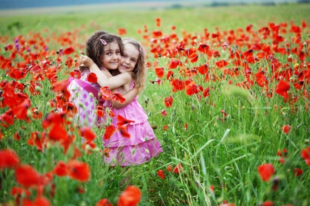 babies playing outside: Cute children in poppy field Stock Photo