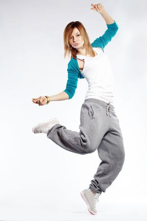 break dancer: Teenage girl dancing hip-hop studio series