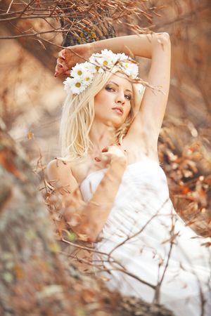 Portrait of beautiful autumn nymph photo