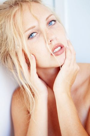 Sensual portrait of beautiful young blond woman photo