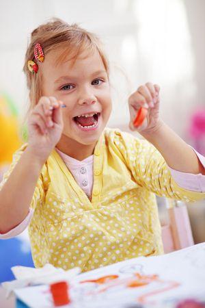 Child painting in the kindergarten Stock Photo - 7872105