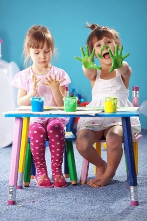 children painting: Children drawing in the nursery