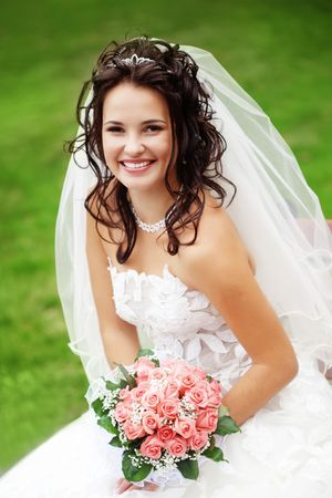 bridal veil: Beautiful bride posing in her wedding day Stock Photo