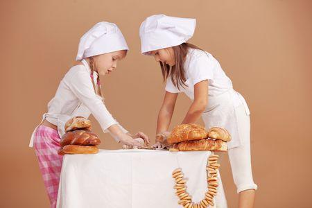 Little cute bakers studio shot photo